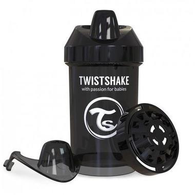 Twistshake, Kubek niekapek z mikserem do owoców, czarny 300 ml