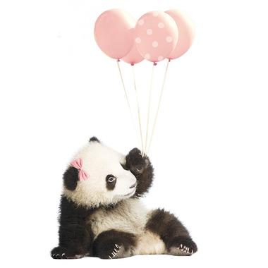 Dekornik , Naklejka Panda Balony Róż 70x115 cm