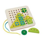 Plan Toys, Drewniany zestaw do nauki sznurowania