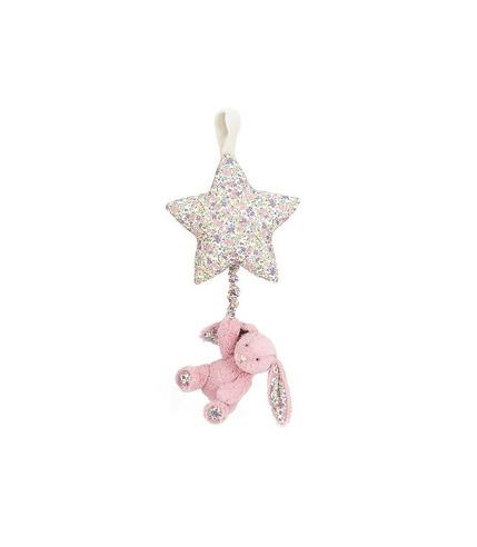 Jellycat, Kwiecisty różowy króliczek z gwiazdką -pozytywka 28cm