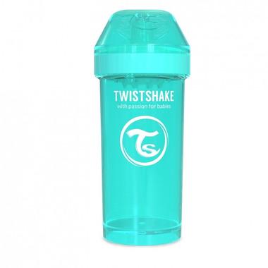 Twistshake, Kubek niekapek z mikserem do owoców, turkusowy 360ml