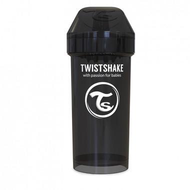 Twistshake, Kubek niekapek z mikserem do owoców, czarny 360ml