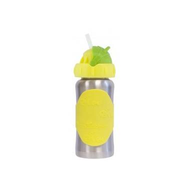 Pacific Baby, Butelka ze słomką GroGrow 380 ml Silver Yellow
