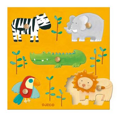 Djeco, drewniane Puzzle z uchwytami zwierzęta