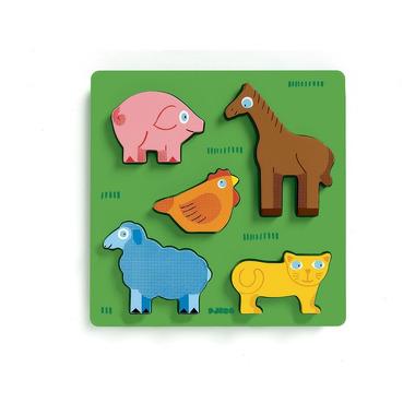 Djeco, drewniane Puzzle z uchwytami farma