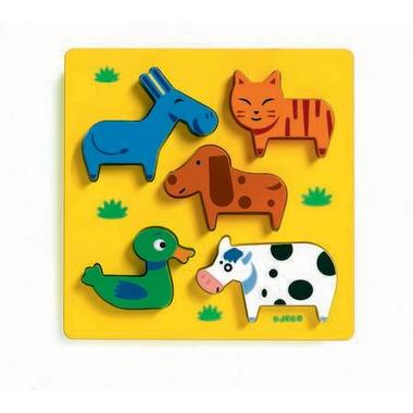 Djeco, drewniane Puzzle z uchwytami podwórko