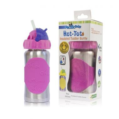 Pacific Baby, Termobutelka ze słomką  265 ml Silver Pink
