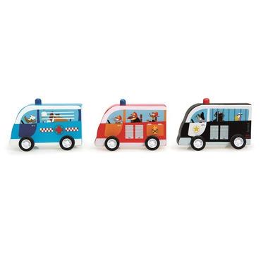 Scratch, Zestaw 3 drewnianych samochodów - Pull Back Cars - Policja, Straż, Karetka