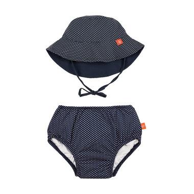 Lassig, Zestaw kapelusz i majteczki do pływania z wkładką chłonną Polka Dots navy UV 50+ 12mc