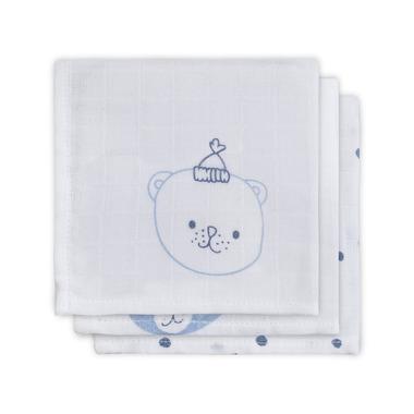 Jollein, Bawełniana chusteczka 31x31 cm Funny Bear Niebieski 3 sztuki