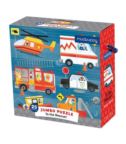 Mudpuppy, Puzzle podłogowe Jumbo Na ratunek! 25 elementów