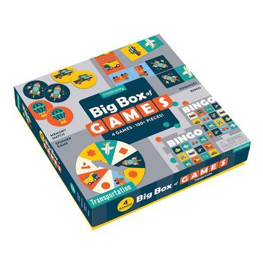 Mudpuppy, Zestaw 4 gier – Memo, Bingo, Domino i Koło fortuny Transport