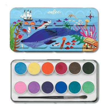 Eeboo, Farbki akarelowe In the Sea 12 kolorów w metalowym opakowaniu