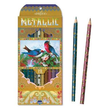 Eeboo, Kredki Metallic, Victorian Birds 12 szt.
