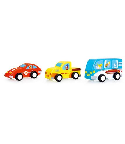 Scratch, 3 Drewniane Samochody Pull