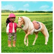 Lori, Jasnobrązowy koń rasy American Quarter Horse z akcesoriami do pielęgnacji