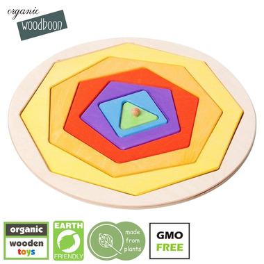 Organic Woodboon, COLOR SHAPES Kształty i Kolory Puzzle Układanka Edukacyjna