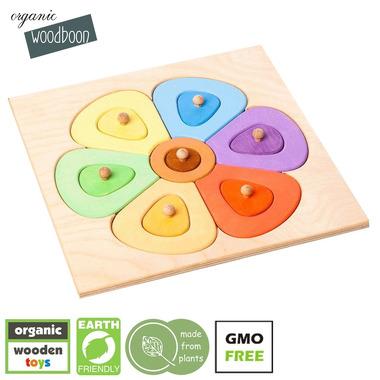 Organic Woodboon, FLOWER SHAPES SMALL Kolorowy Kwiatuszek Puzzle Układanka Edukacyjna
