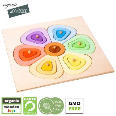 Organic Woodboon, FLOWER SHAPES Kolorowy Kwiatek Puzzle Układanka Edukacyjna