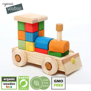 Organic Woodboon, Duża Kolorowa Lokomotywa Układanka Edukacyjna