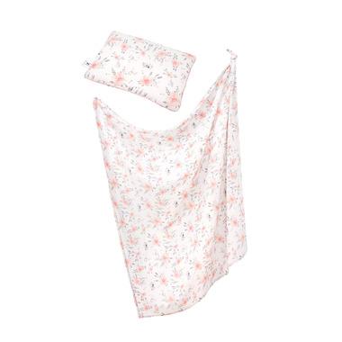 Samiboo, Bambusowy zestaw w kwiaty otulacz/lekki kocyk i poduszka CLASSIC różowa wypustka, klips gratis