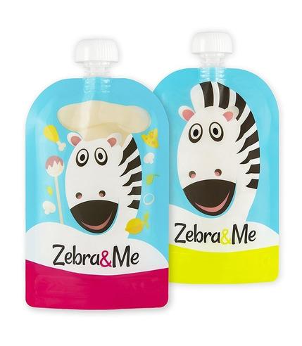 Zebra & Me, CHEF - 2 PACK Saszetki do karmienia wielorazowe