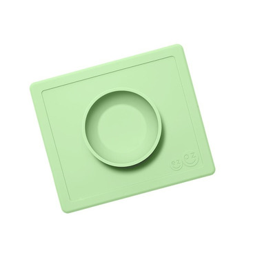EZPZ, Silikonowa miseczka z podkładką 2w1 Happy Bowl pastelowa zieleń