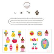 Janod, Zestaw artystyczny do tworzenia biżuterii z kurczliwego plastiku Słodkości