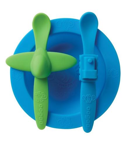 oogaa, Blue Meal Set silikonowy talerzyk i 2 łyżeczki
