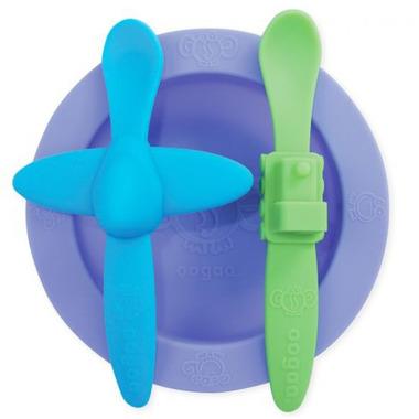 oogaa, Purple 2 Meal Set silikonowy talerzyk i 2 łyżeczki