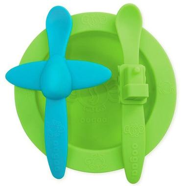 oogaa, Green Meal Set silikonowy talerzyk i 2 łyżeczki