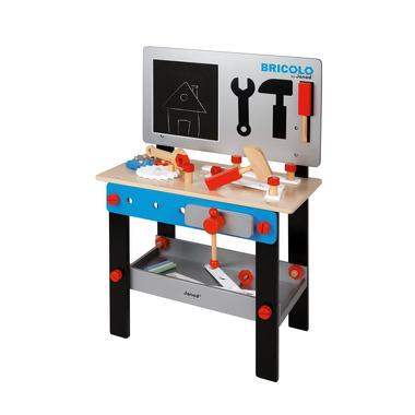 Janod, Stolik warsztat drewniany magnetyczny z 24 elementami Bricolo