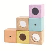 Plan Toys, Pastelowe klocki interaktywne w woreczku