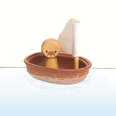 Plan Toys, Pastelowa żaglówka z lwem morskim