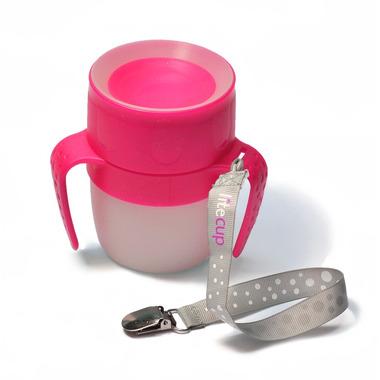 LiteCup, Świecący kubeczek niekapek z uchwytem różowy