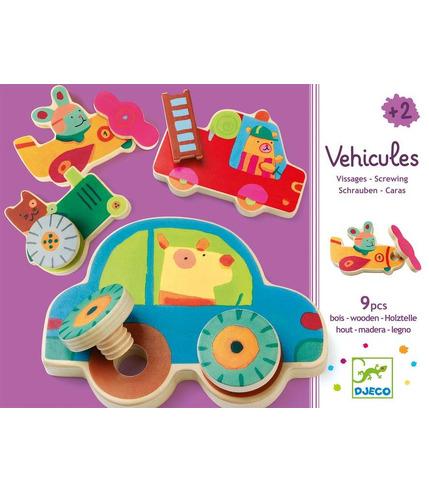 Drewniana układanka Pojazdy na śrubki Djeco