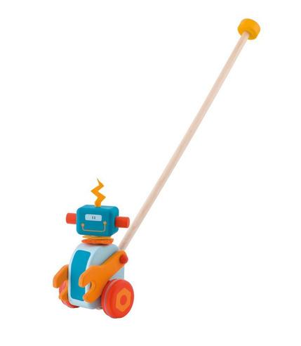 Sevi, Drewniana zabawka do pchania, robot z ruchomą główką i rączkami