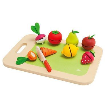 Sevi, Drewniana deska do krojenia z owocami i warzywami, 9 el.