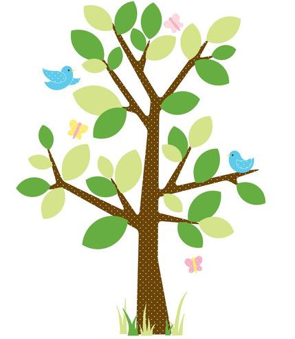 Naklejki wielokrotnego użytku - Wiosenne drzewo