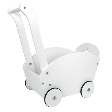 JaBaDaBaDo, Drewniany biały wózek dla lalek -pchacz