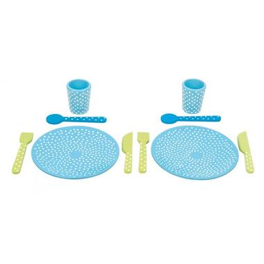 JaBaDaBaDo, Drewniane naczynia - niebieski serwis obiadowy