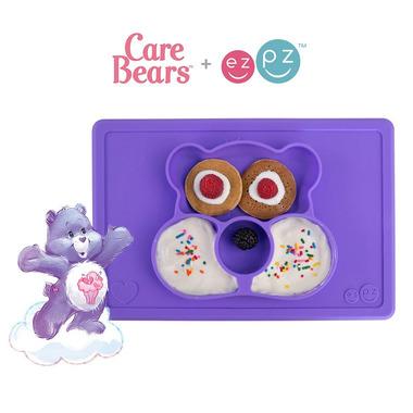 EZPZ, Silikonowy talerzyk z podkładką 2w1 Care Bears™ Mat Miśka Share Bear fioletowy