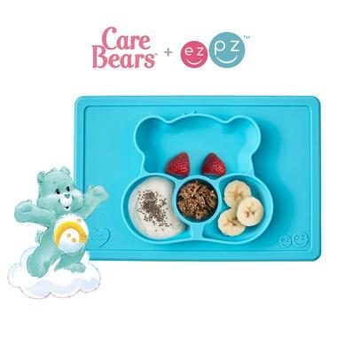 EZPZ, Silikonowy talerzyk z podkładką 2w1 Care Bears™ Mat Misia Życzliwe Serce Wish Bear turkusowy