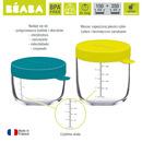 Beaba, Zestaw pojemników słoiczków szklanych z hermetycznym zamknięciem 150 i 250 ml blue i neon