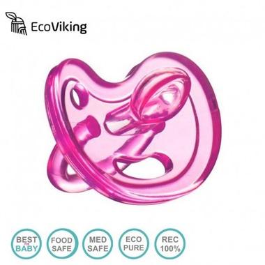 Eco Viking , Anatomiczny Smoczek Uspokajający SiliMed Pink 6m+