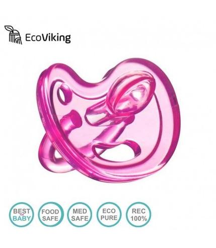 Eco Viking , Anatomiczny Smoczek Uspokajający SiliMed  Pink 0m+