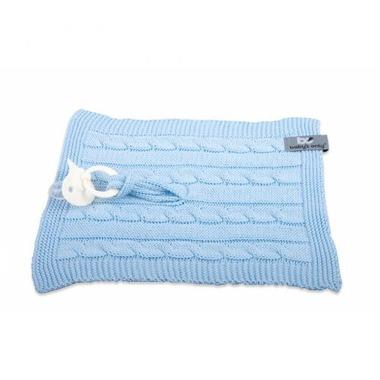 Baby's Only, Cable Baby Blue Kocyk z zawieszką na smoczek 20 x 20 cm, Niebieski