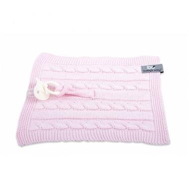 Baby's Only, Cable Baby Pink Kocyk z zawieszką na smoczek 20 x 20 cm, Różowy
