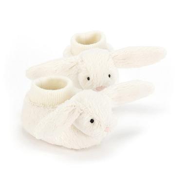 Jellycat, Buciki z króliczkami kremowe 10cm