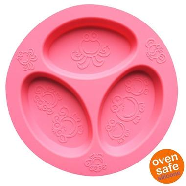 Oogaa, Pink Divided Plate silikonowy talerzyk trójdzielny